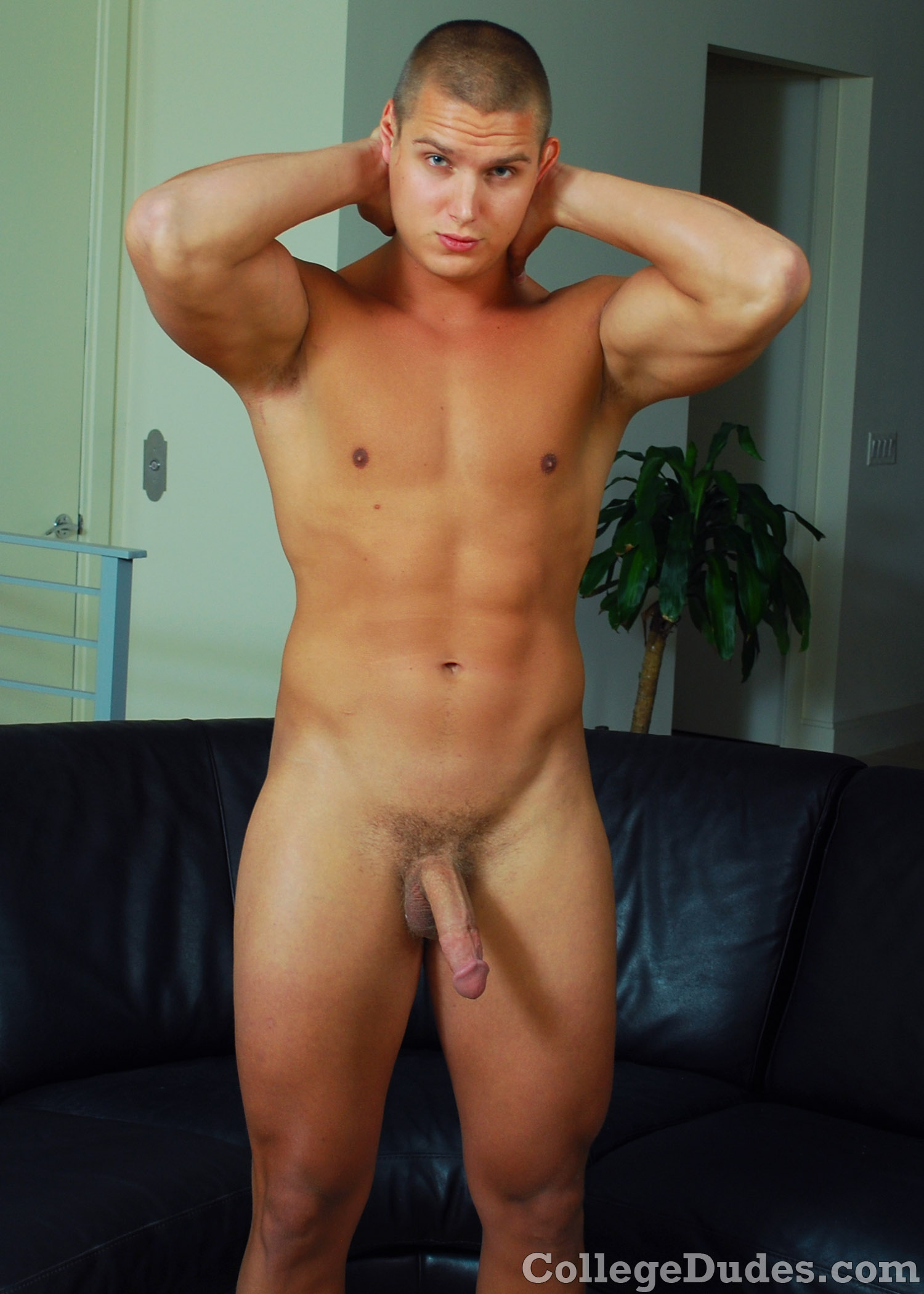 Mike-Young-Amateur-Straight-Collegedudes-Naked-Jacking-Off-09 Hot Straight Amatuer Muscle CollegeDude Shoots A Huge Load of Cum