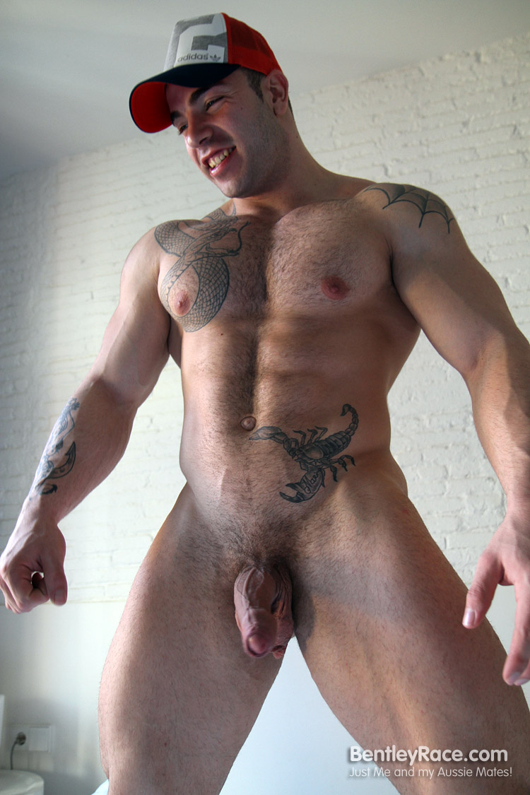 Bentley-Race-Max-Hilton-Uncut-cock-Muscle-18 Amateur Straight Bodybuilder Shows off his Massive Uncut Cock