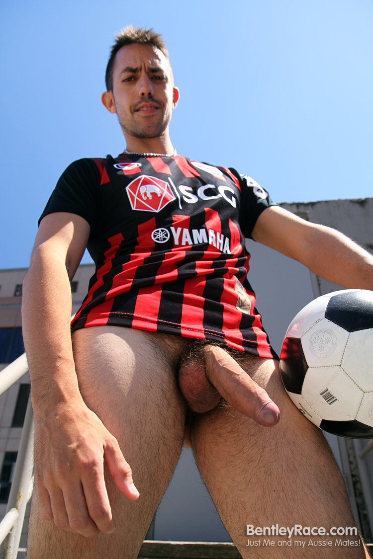 BentleyRace-GustavoDiaz-big-uncut-cock-16 Aussie Soccer Play Strokes His Big Thick Uncut Cock