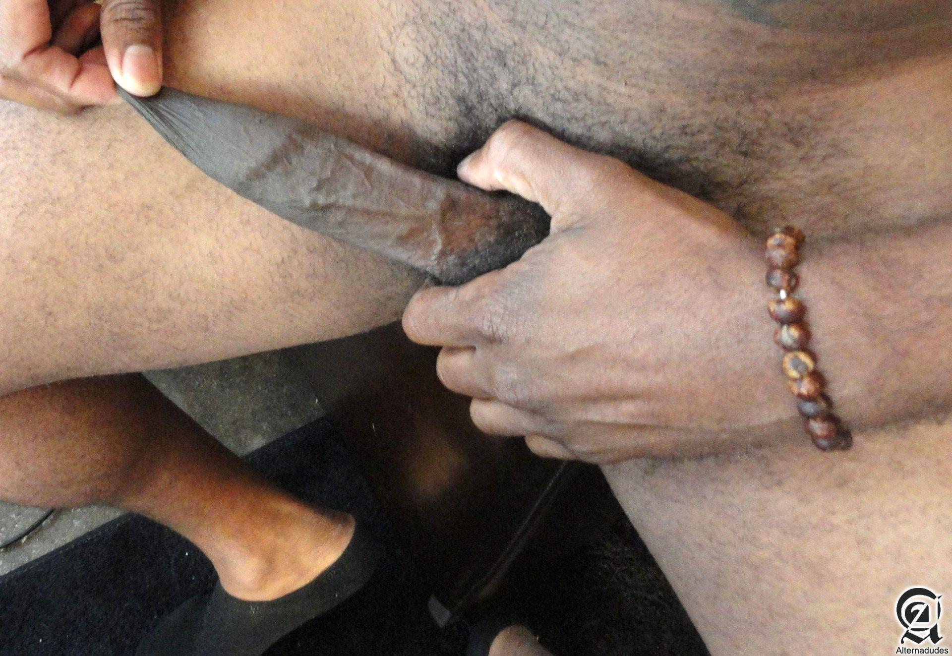 Alternadudes Kamrun big black uncut cock with cum 05 Sexy Amateur Black Hipster with a Huge Uncut Black Cock Shoots A Load