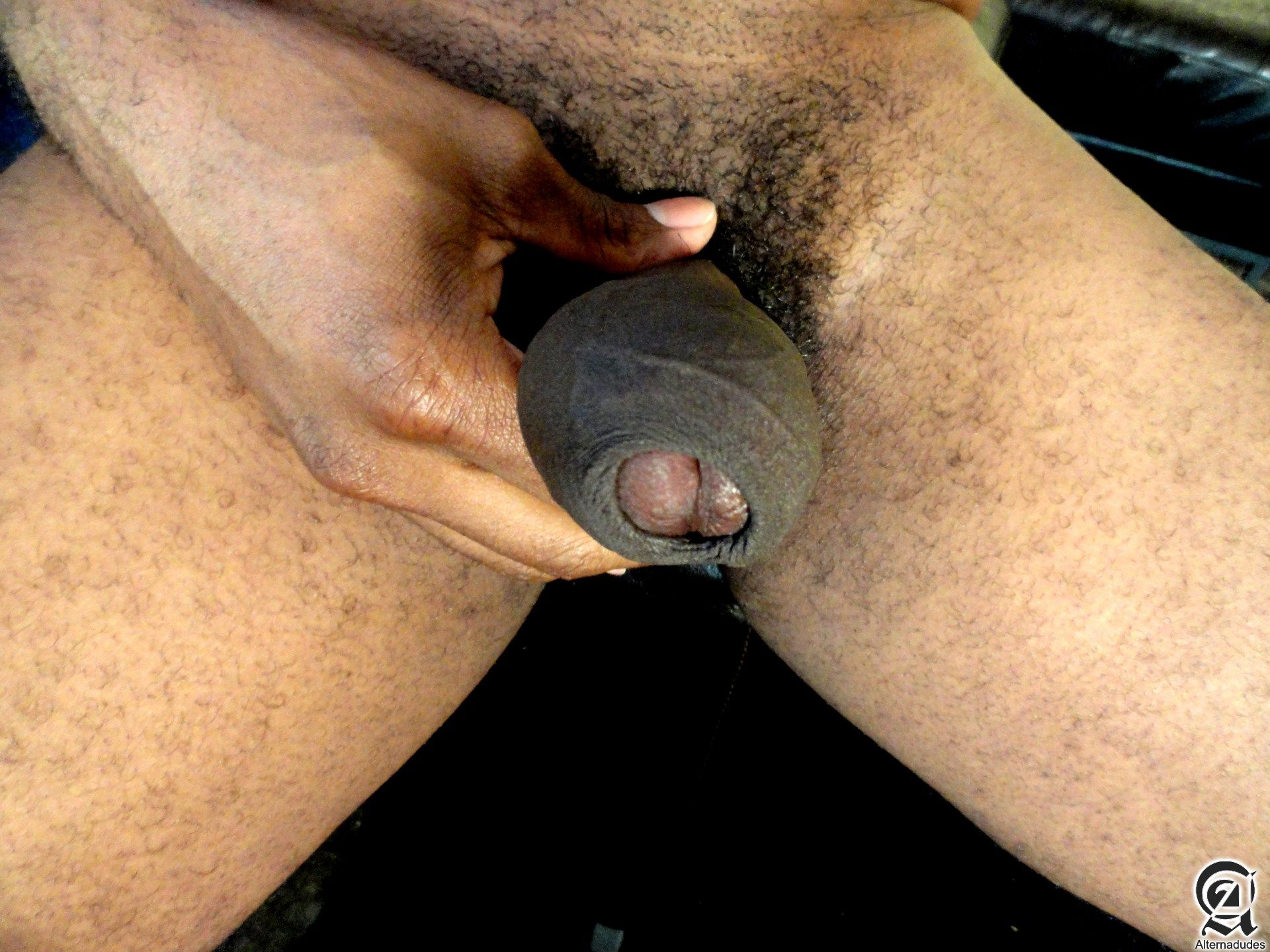 Alternadudes-Kamrun-big-black-uncut-cock-with-cum-06 Sexy Amateur Black Hipster with a Huge Uncut Black Cock Shoots A Load