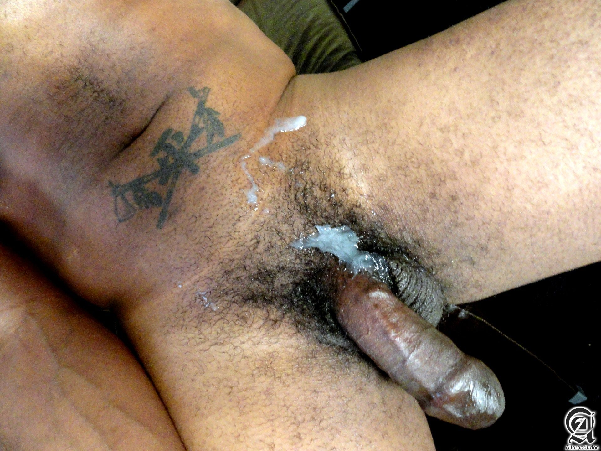 Alternadudes-Kamrun-big-black-uncut-cock-with-cum-13 Sexy Amateur Black Hipster with a Huge Uncut Black Cock Shoots A Load