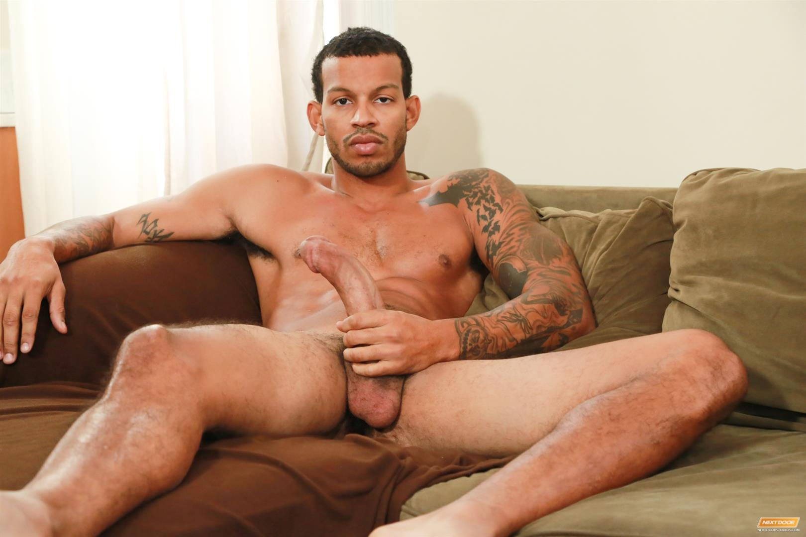 image Big guy jerking cock and cumshot