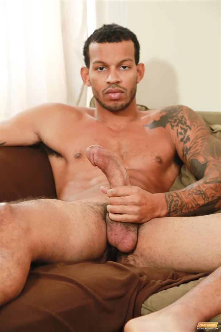 image Big black gay man taking off his clothes