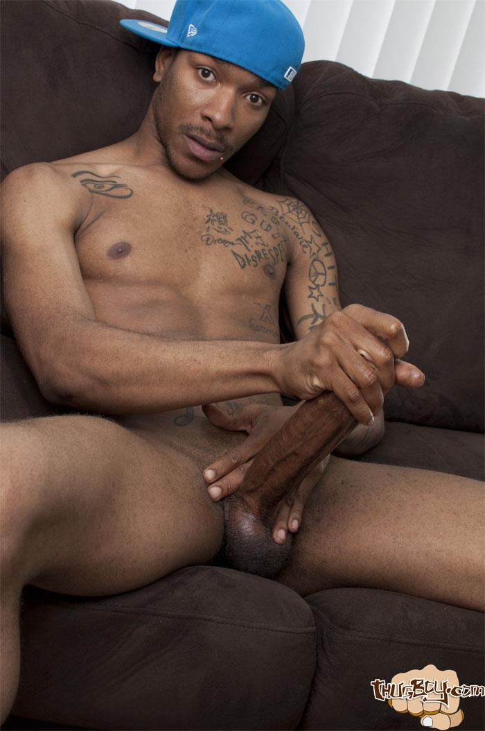 Thug-Boys-Black-Noir-Big-Black-Cock-Jerk-Off-Video-Amateur-Gay-Porn-42 Straight LA Thug Black Noir Jerking His Big Black Cock