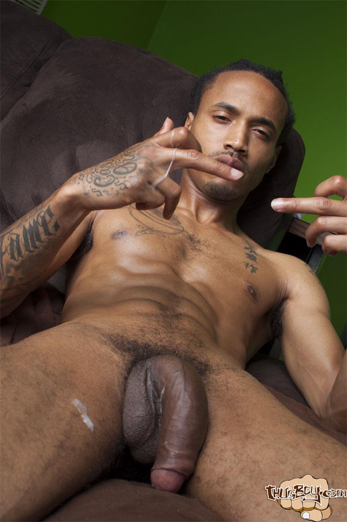 Thug-Boy-Cali-Bandz-Big-Black-Uncut-Cock-Jerk-Off-Amateur-Gay-Porn-65 Thug Boy:  Straight Ghetto Thug Strokes His Big Black Uncut Cock