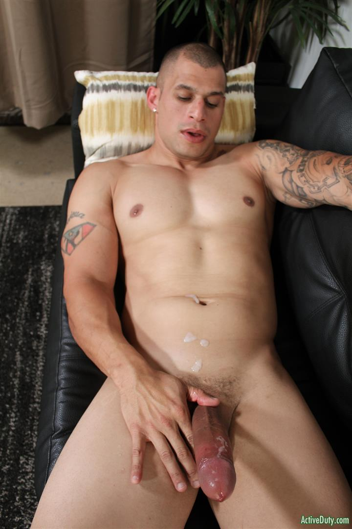 Active-Duty-Rico-Military-With-A-Big-Uncut-Cock-Masturbation-Pics-12 Muscular Military Hunk Shows Off A Massive Uncut Cock