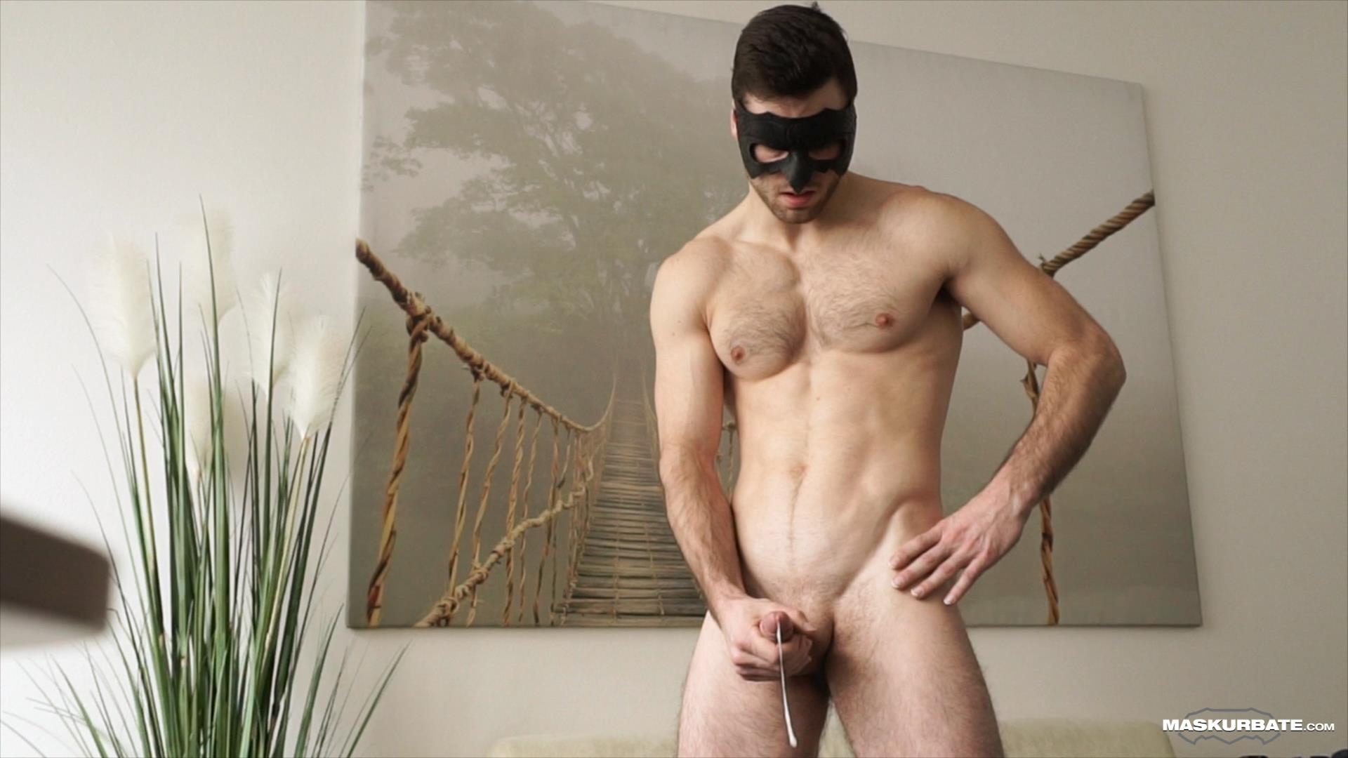 Maskurbate-Sam-Cuthan-Straight-Naked-Hairy-Muscle-Guy-Jerk-off-15 Straight Masked Hairy Muscle Hunk Strokes His Big Uncut Cock