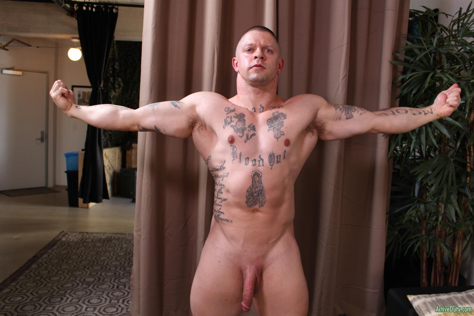 Active-Duty-Owen-Steal-Naked-Muscular-Marine-Jerking-Off-Big-Cock-09 Naked Hung Muscular Marine Jerks His Big Hard Cock