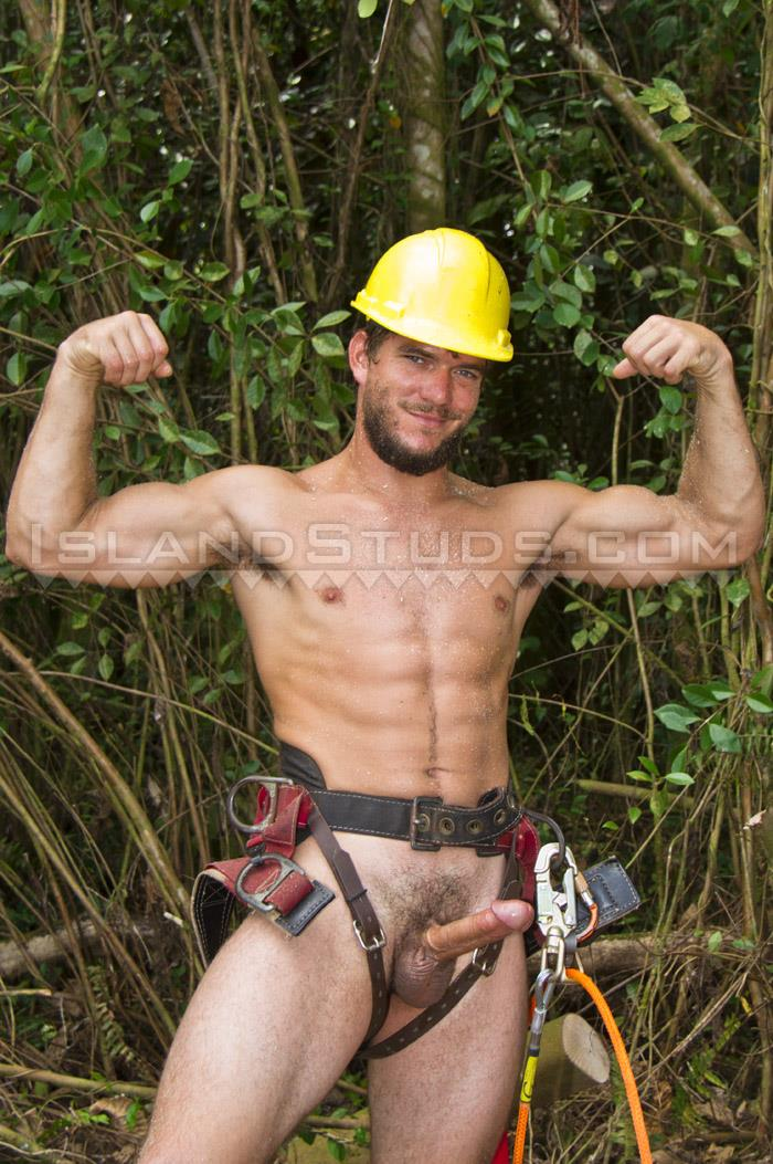 "Island-Studs-Derek-Naked-Blue-Collar-Guy-With-A-Big-Cock-05 Bearded Blue Collar Hunk Jerking Off His 8"" Thick Cock"