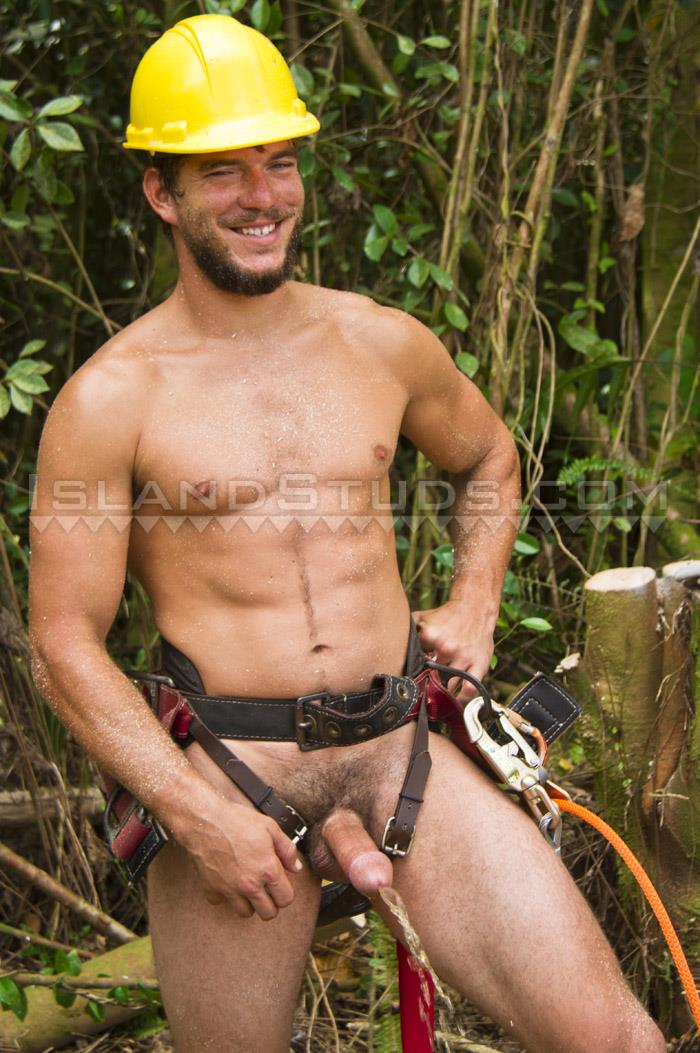 "Island-Studs-Derek-Naked-Blue-Collar-Guy-With-A-Big-Cock-07 Bearded Blue Collar Hunk Jerking Off His 8"" Thick Cock"