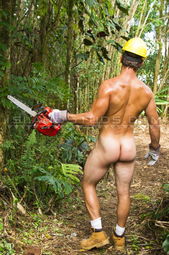"Island-Studs-Derek-Naked-Blue-Collar-Guy-With-A-Big-Cock-09 Bearded Blue Collar Hunk Jerking Off His 8"" Thick Cock"