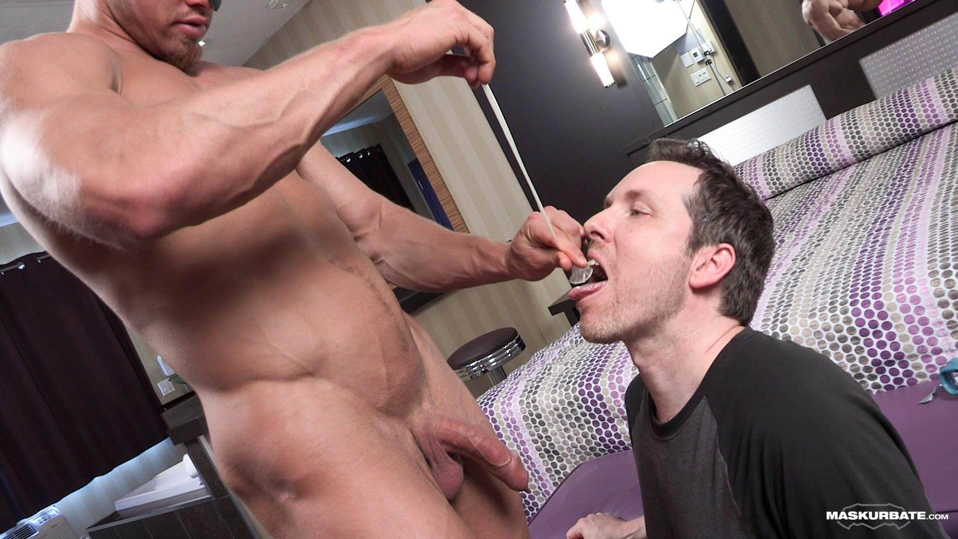 Maskurbate-Brad-and-Pascal-Muscle-Hunk-Jerking-Off-In-A-Condom-13 Straight Masked Muscle Hunk Gets Paid To Jerk Off In A Condom