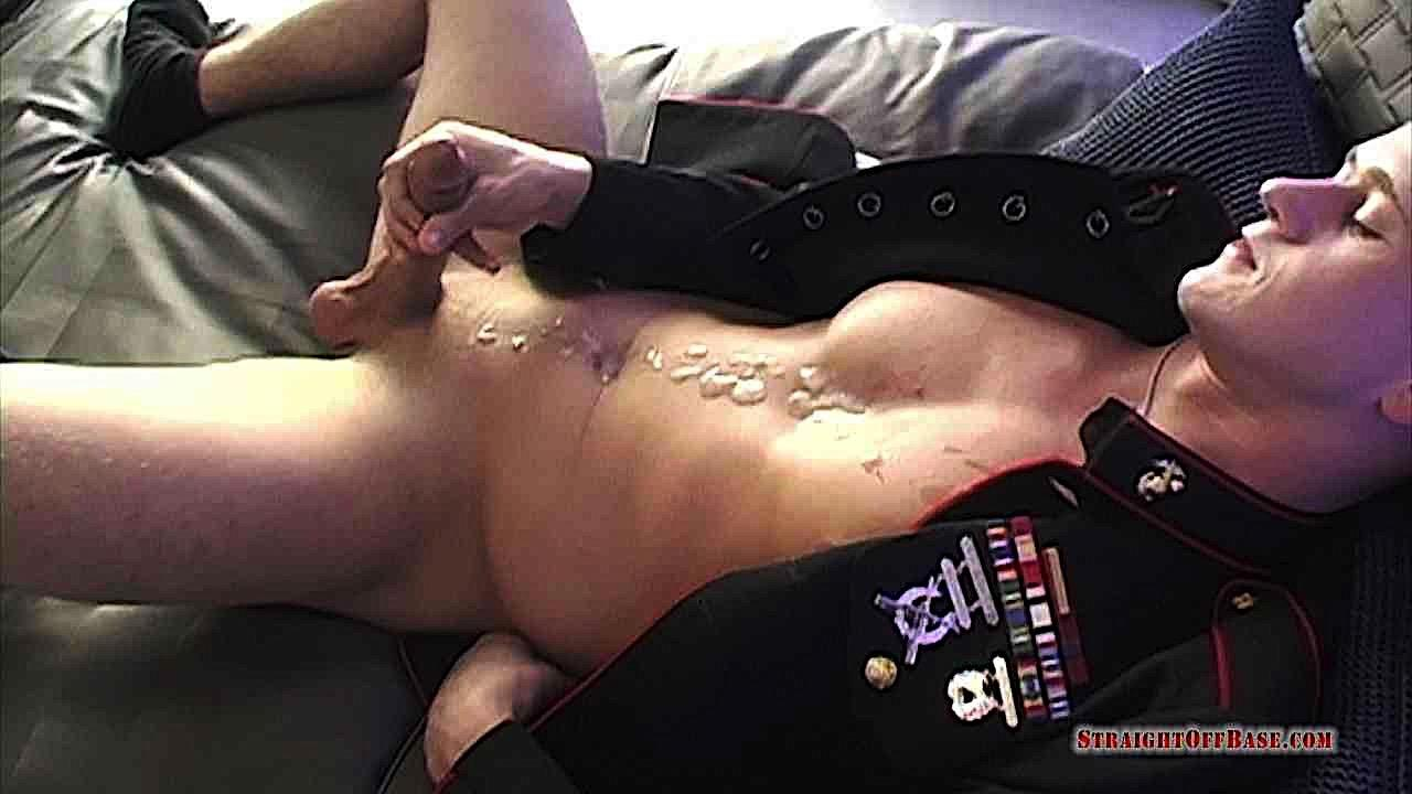 Straight-Off-Base-Jackson-Big-Dick-Naked-Marine-Jerking-Off-04 Marine Sergeant Jerking His Big Cock In His Dress Blues
