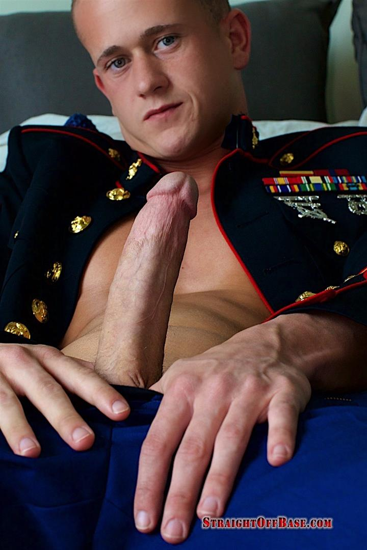 Straight-Off-Base-Jackson-Big-Dick-Naked-Marine-Jerking-Off-09 Marine Sergeant Jerking His Big Cock In His Dress Blues