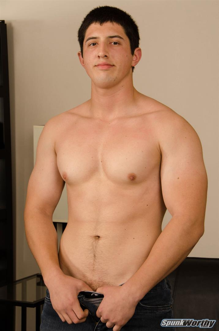 SpunkWorthy-Robert-Straight-Jock-Jerking-Off-02 21-Year Old Straight Muscle Jock Busts Out A Load