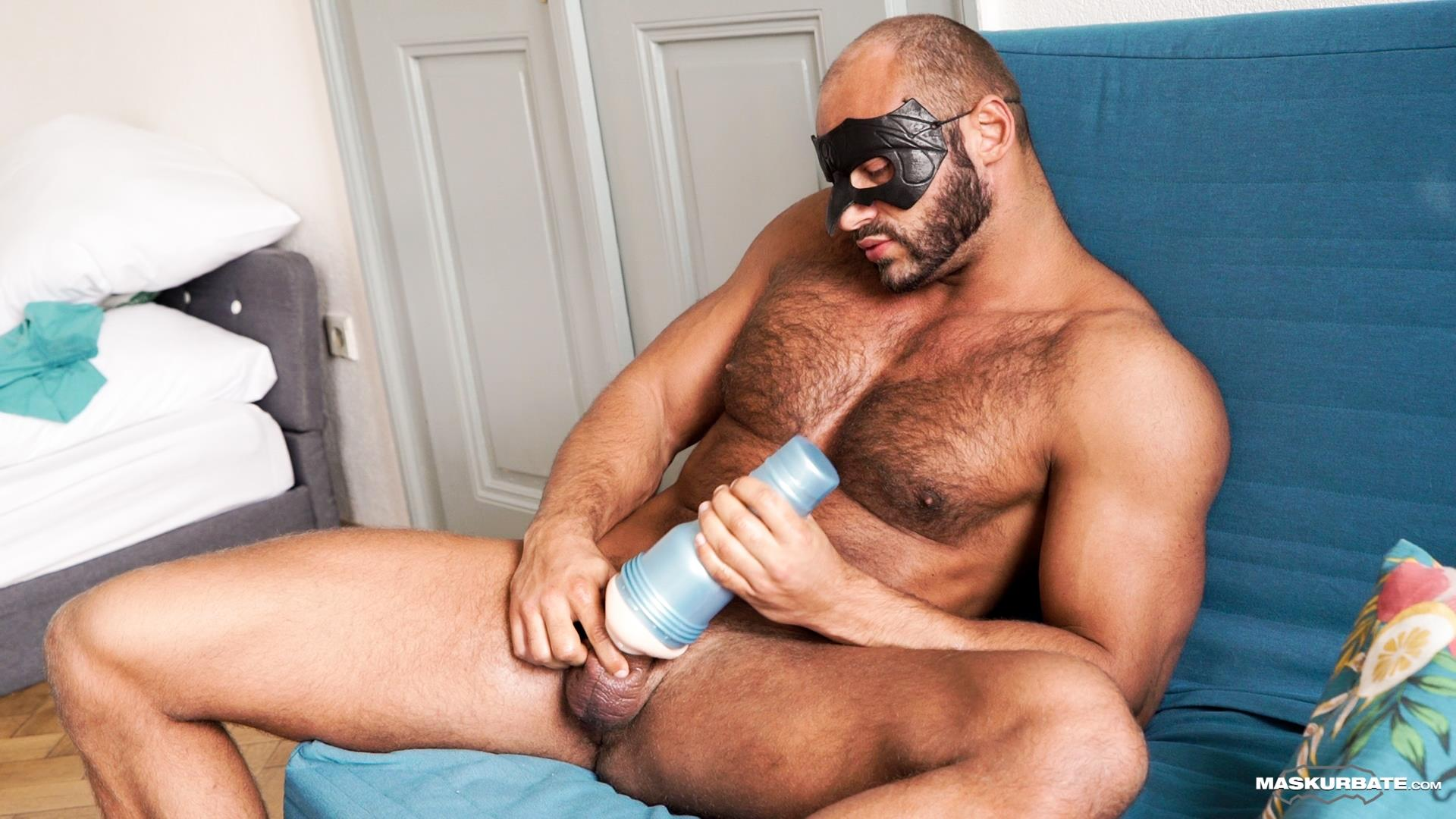 Maskurbate-Zack-Hood-and-Thomas-Friedl-Hairy-Muscle-Hunk-Jerking-Off-12 Hairy Muscle Hunk Uses A Fleshlight On His Big Uncut Cock